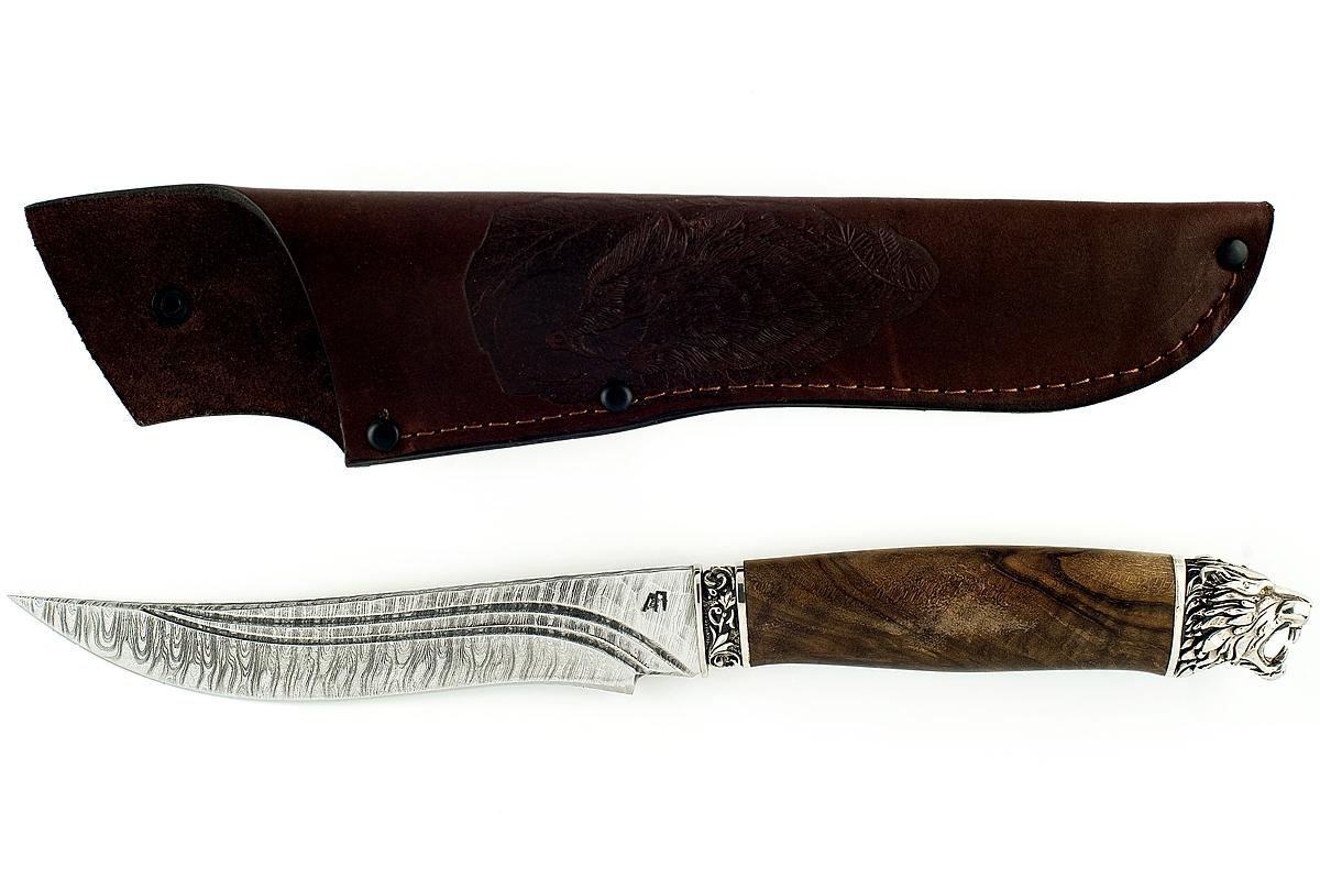 Нож Акула-5 сталь дамаск комель ореха долы голова