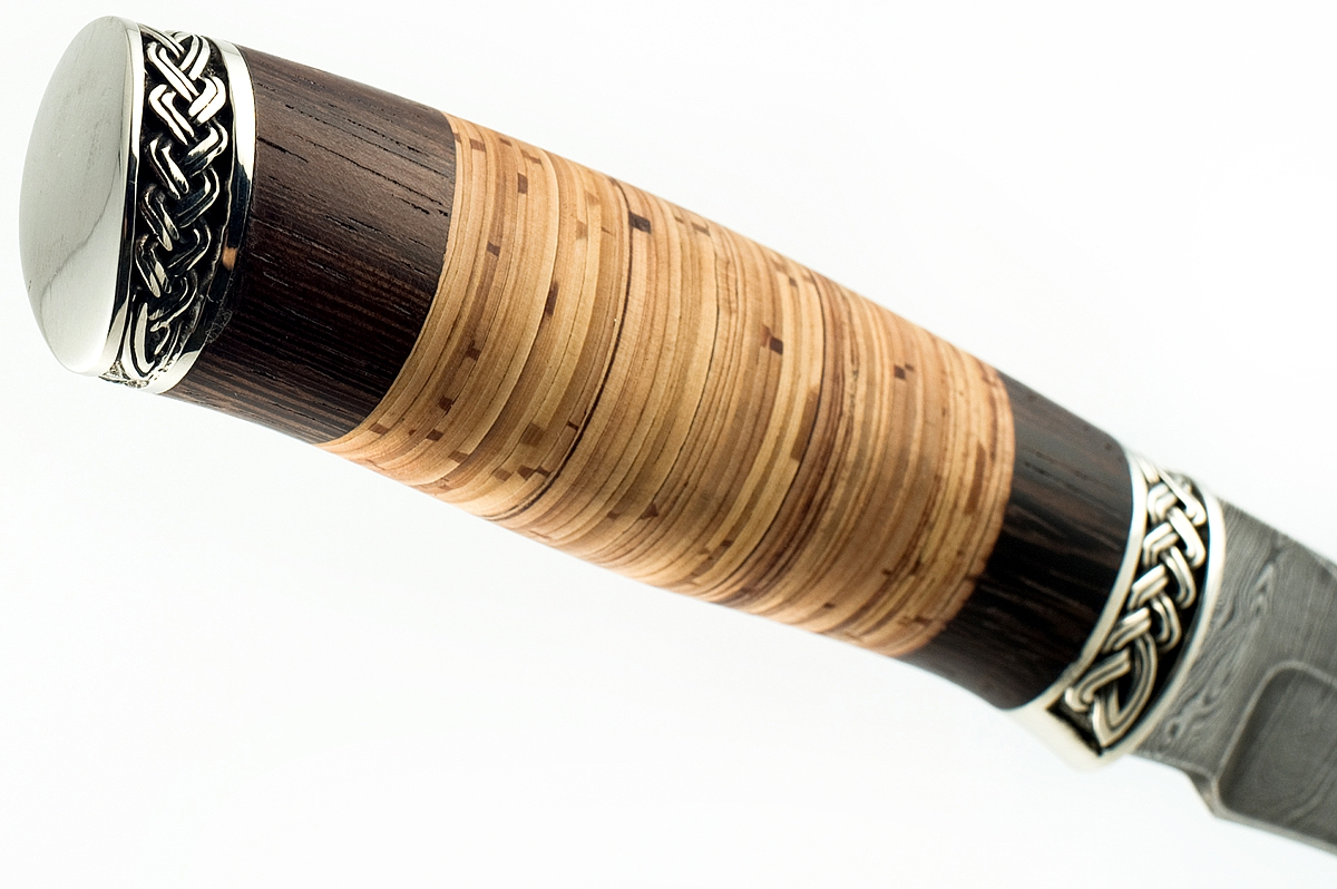 Нож Акула-6 сталь дамаск венге и береста
