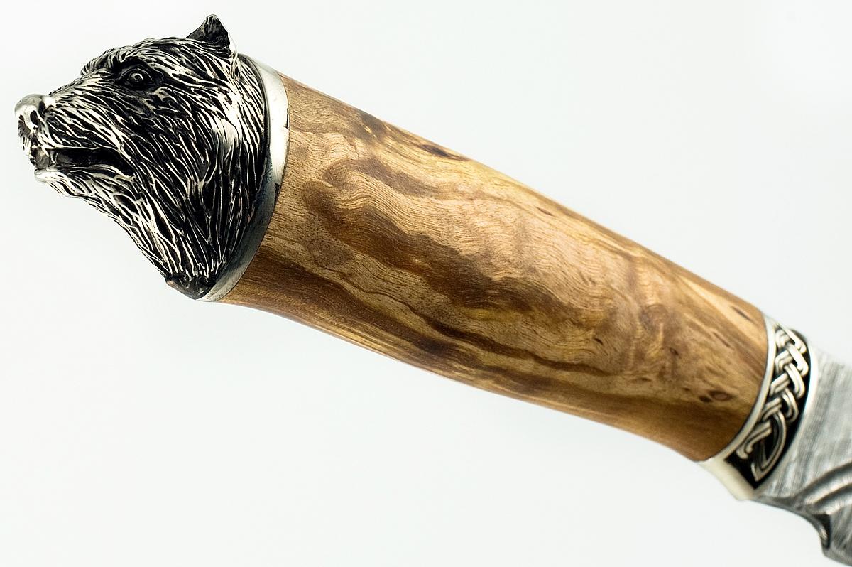 Нож Бизон-21 сталь дамаск карельская берёза долы голова