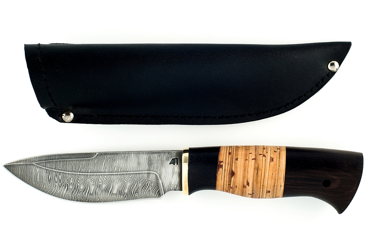 Нож Кабан-2 сталь дамаск граб и береста