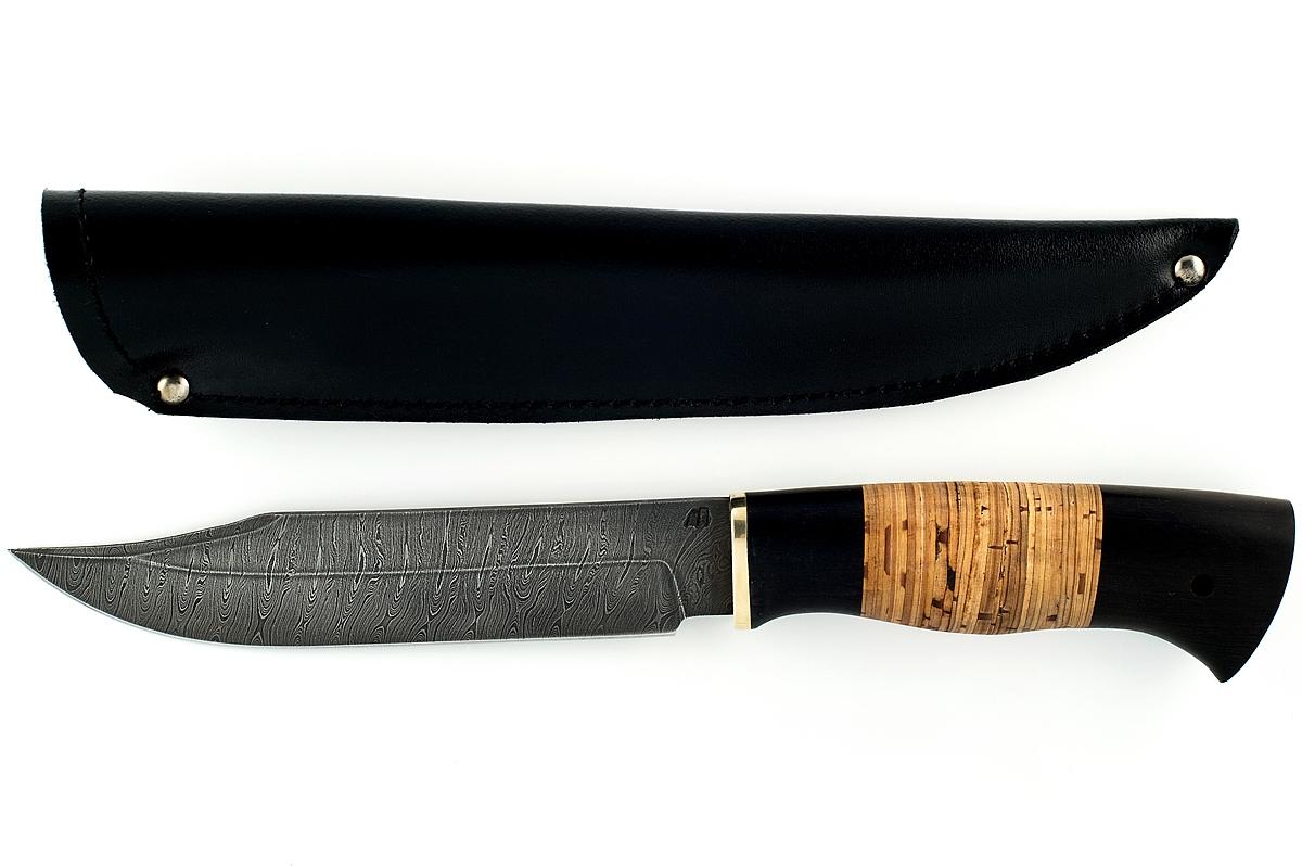 Нож Пират сталь дамаск граб и береста