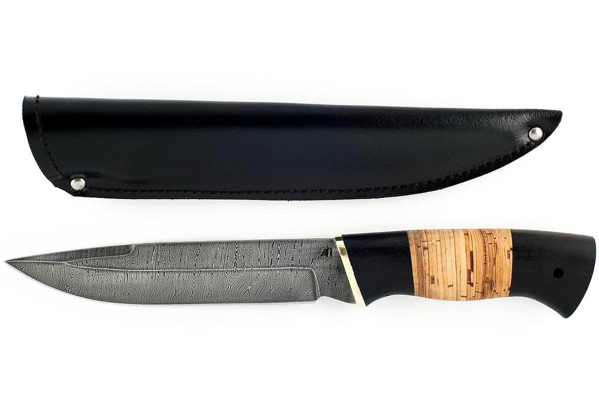 Нож Скорпион-11 сталь дамаск граб и береста