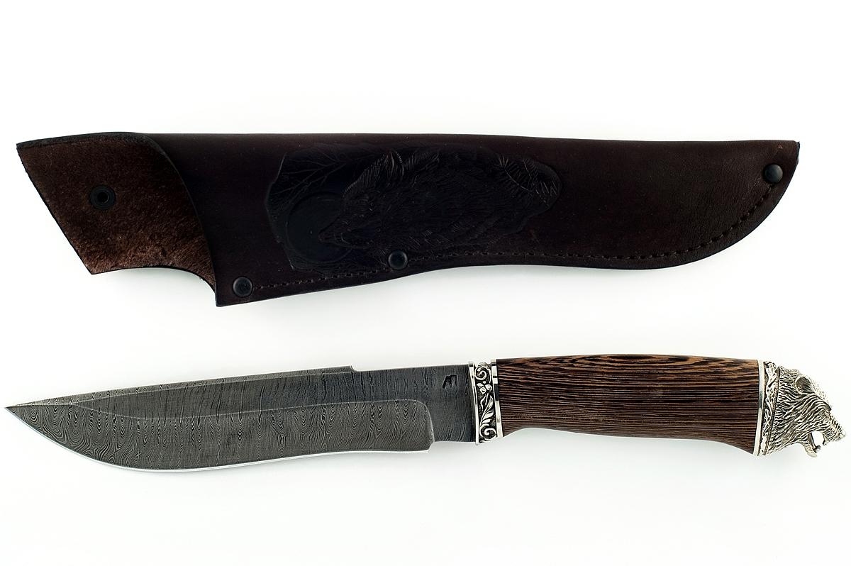 Нож Бизон-23 сталь дамаск венге (голова)
