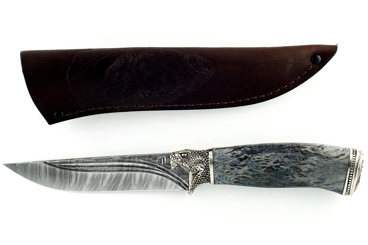 Нож Волк-7 сталь дамаск карельская берёза (долы)