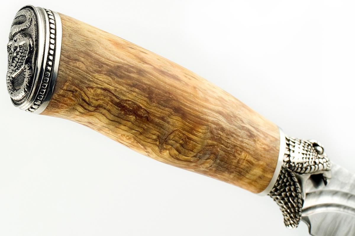 Нож Пират-2 сталь дамаск карельская берёза (долы)