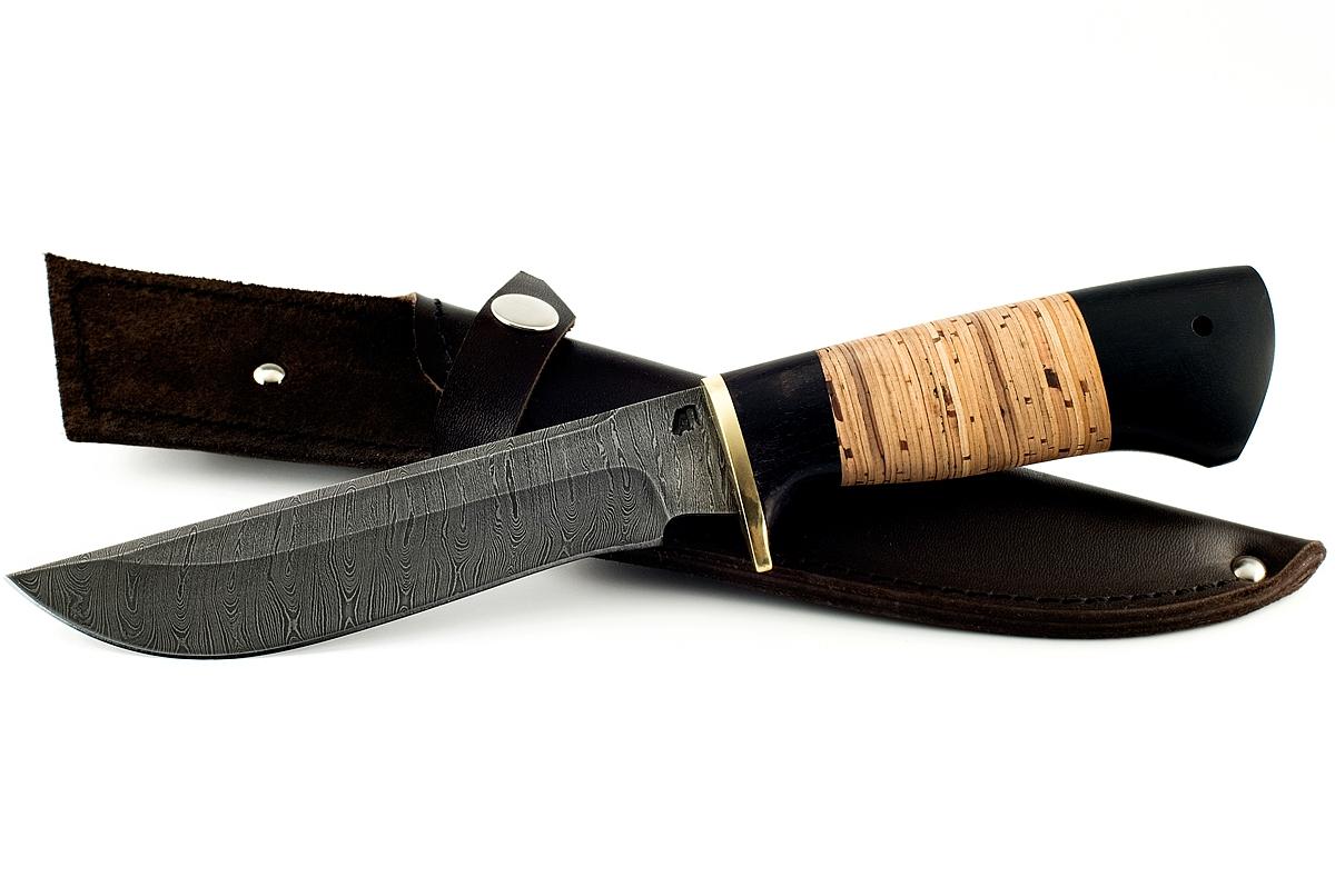Нож Ястреб-5 сталь дамаск граб и береста