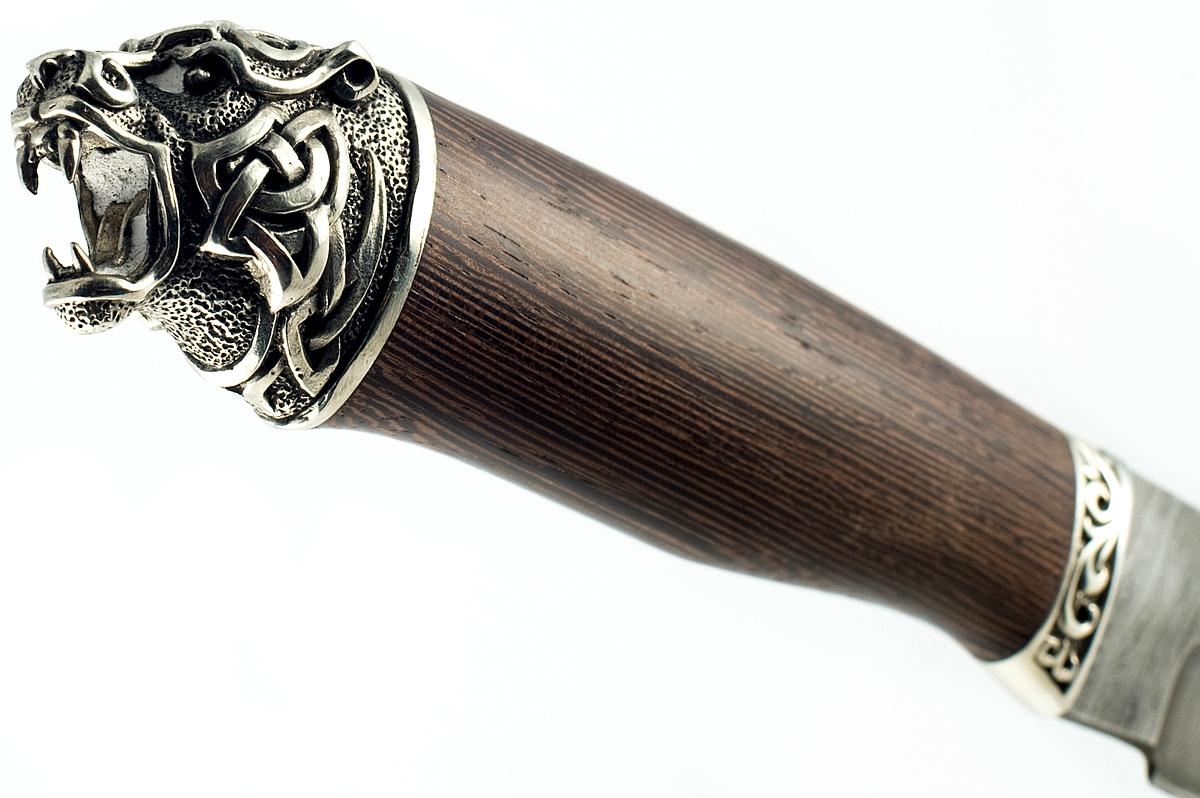 Нож Бизон-19 сталь дамаск венге голова