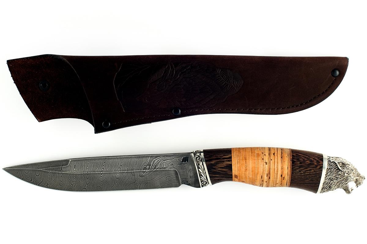 Нож Скорпион-13 сталь дамаск венге и береста (голова)