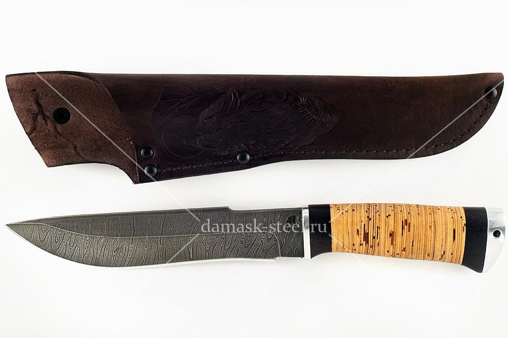 Нож Бизон-23 сталь дамаск береста