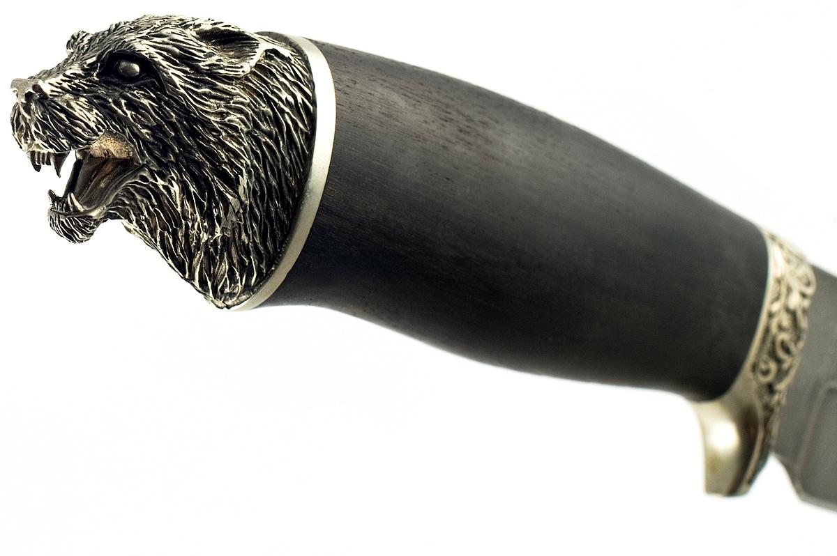 Нож Егерь-8 сталь дамаск граб голова
