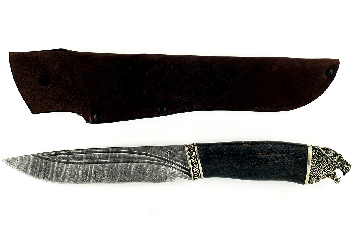 Нож Скорпион-14 сталь дамаск карельская берёза (долы)