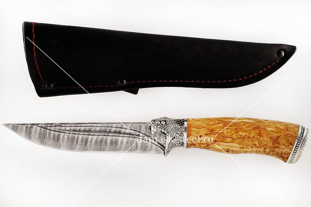 Нож Волк-9 сталь дамаск карельская берёза (долы)