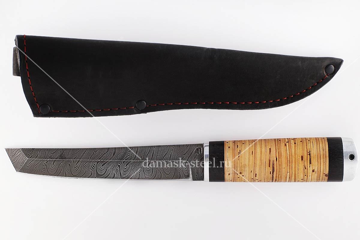 Нож Самурай  сталь дамаск граб и береста