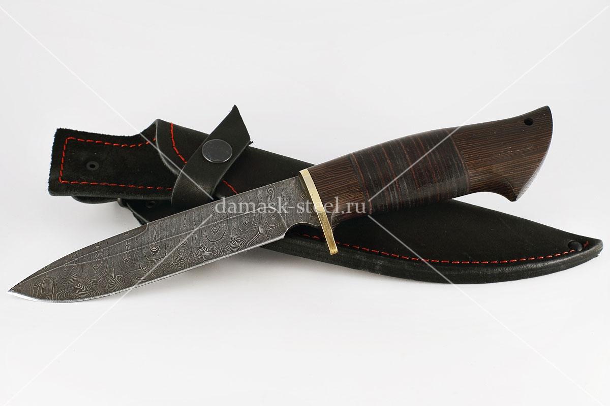 Нож Ворон-1 сталь дамаск венге и кожа