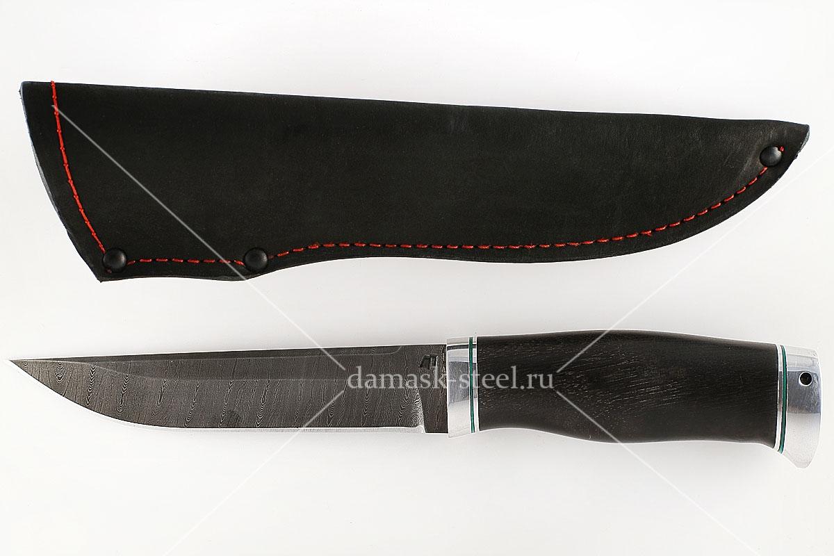 Нож Волк-1 сталь дамаск граб