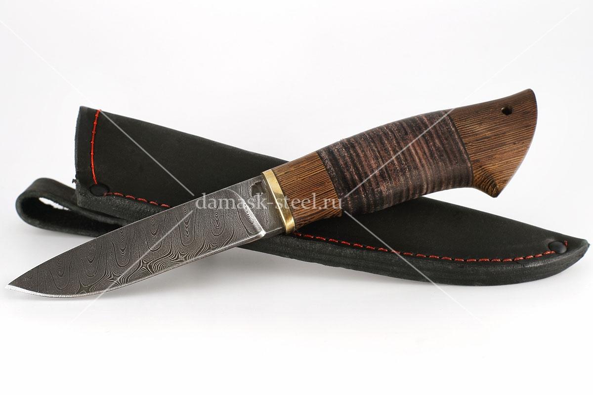 Нож Ласка-3 сталь дамаск венге и кожа