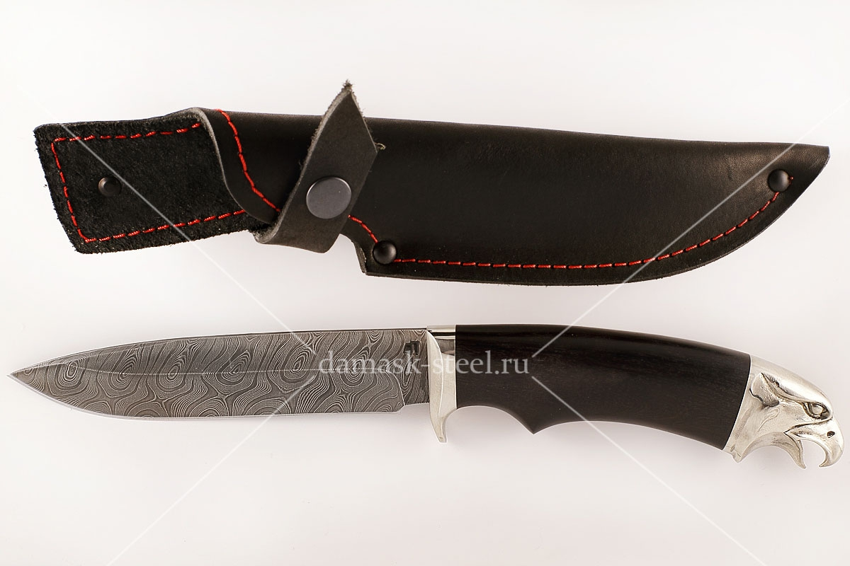 Нож Ворон-3 сталь дамаск граб голова