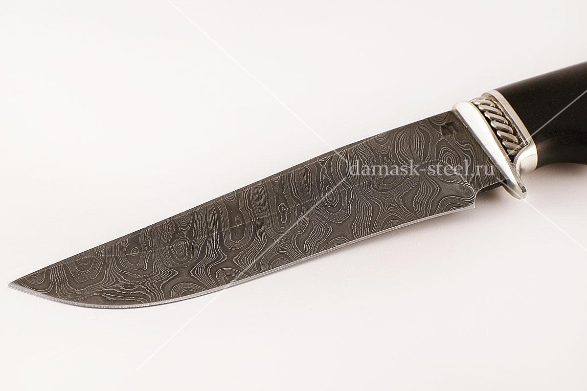 Нож Егерь-9 сталь дамаск граб голова