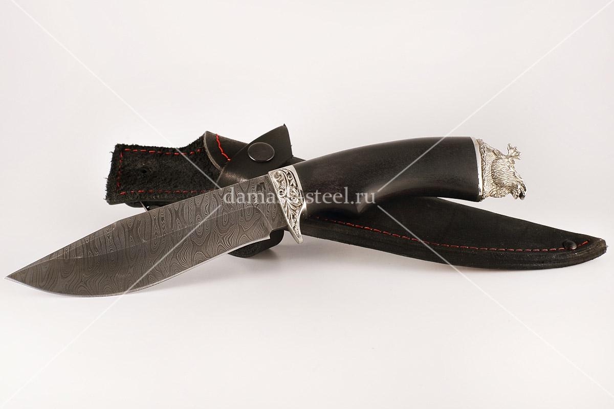 Нож Олень-1 сталь дамаск граб голова