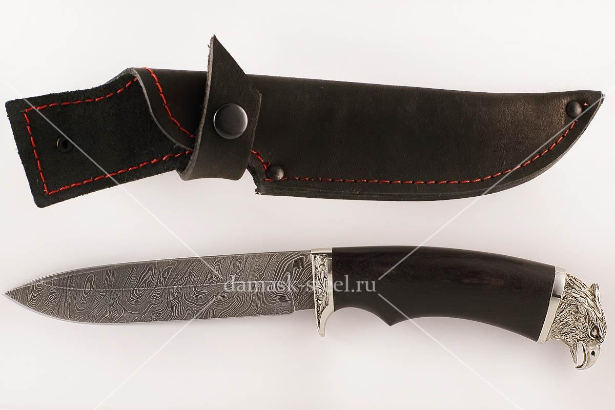 Нож Ворон-4 сталь дамаск граб голова