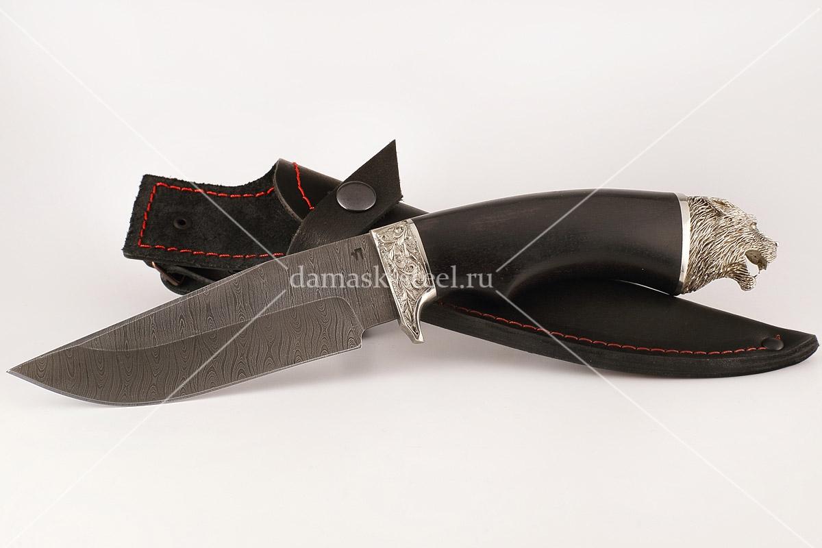 Нож Барсук-3 сталь дамаск граб голова