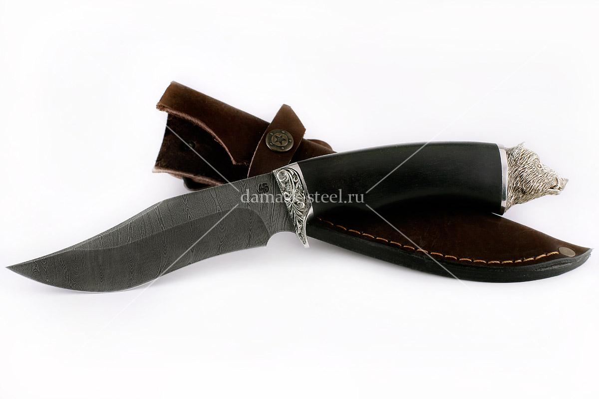 Нож Кабан(n) сталь дамаск граб (голова)