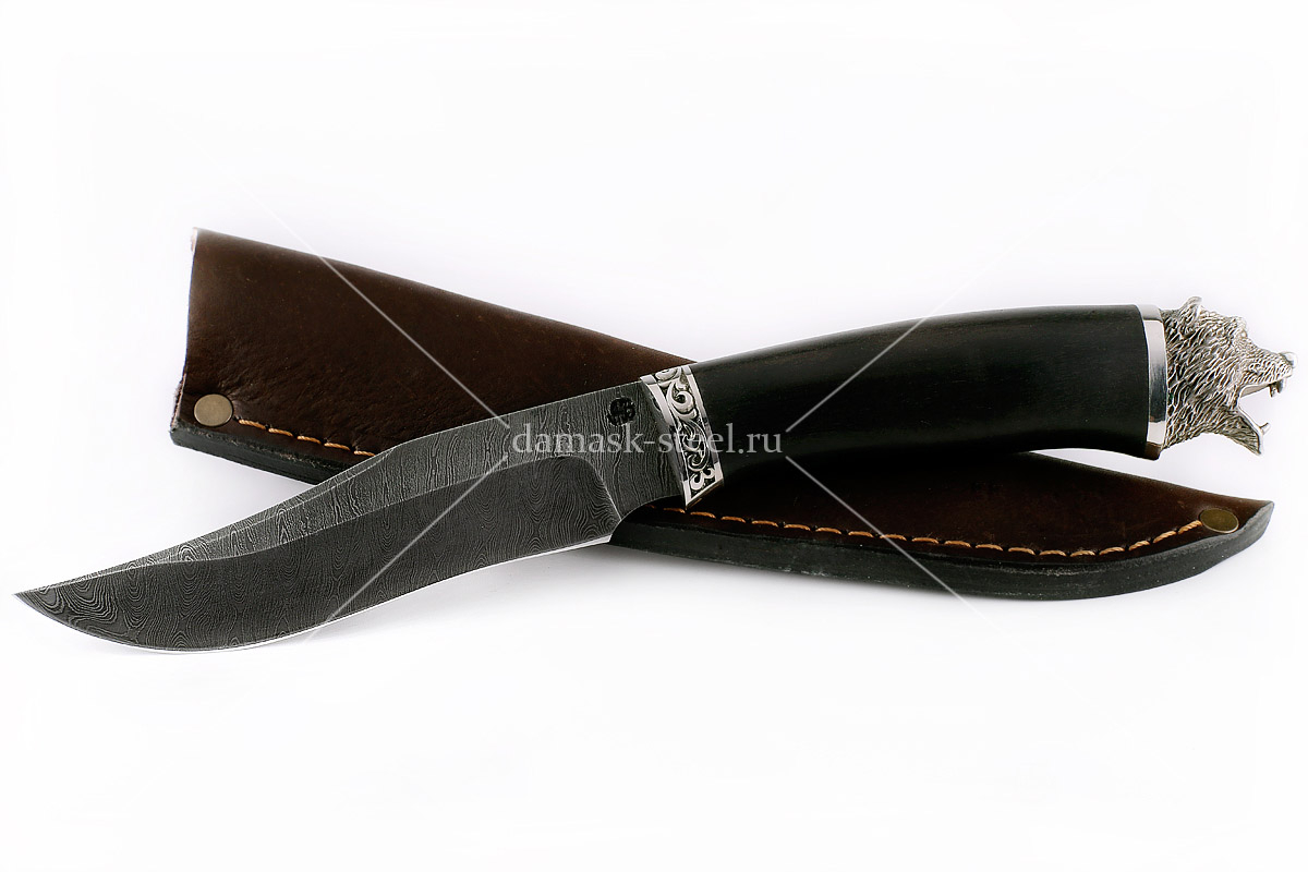 Нож Тайга(n) сталь дамаск граб (голова)