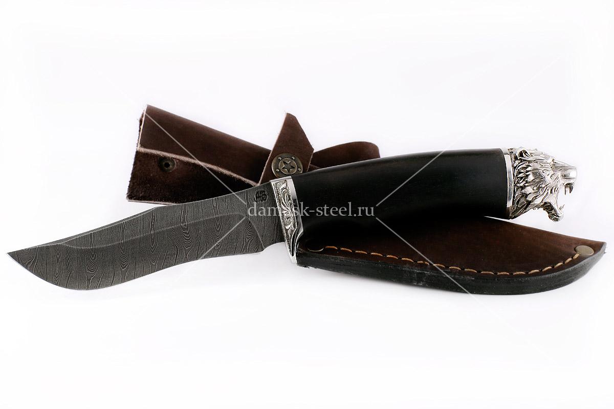 Нож Бизон(n) сталь дамаск граб (голова)