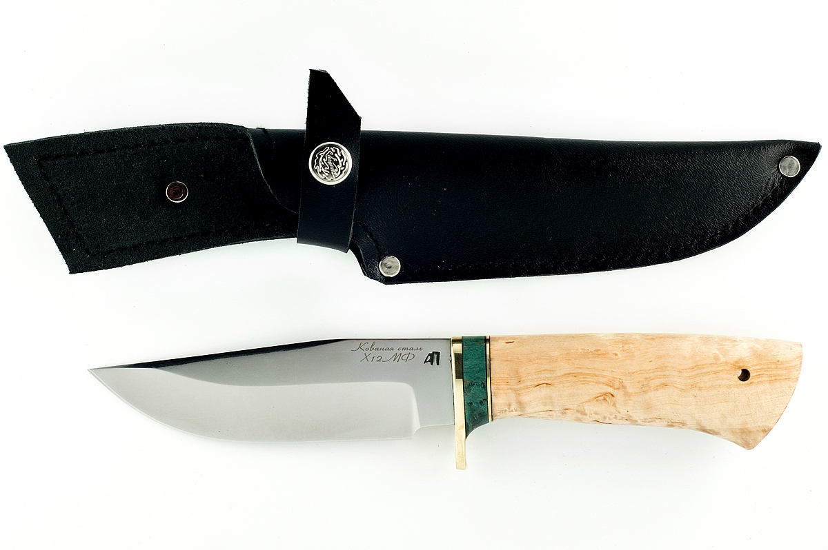 Нож Барсук-1 кованая сталь Х12МФ дерево карельская берёза