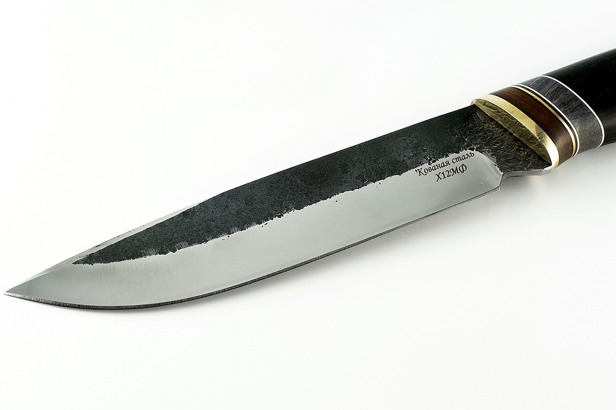 Нож Скорпион-3 кованая сталь х12мф граб следы ковки