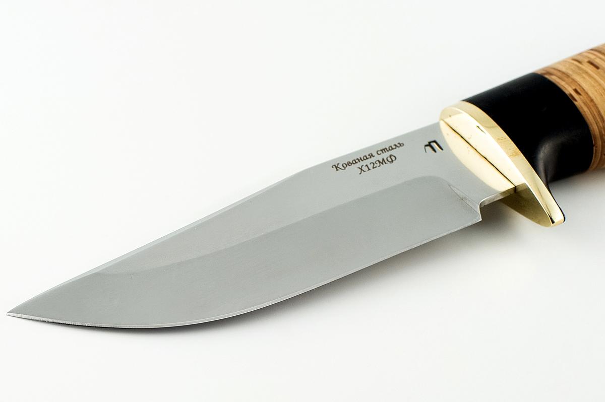 Нож Барсук-3 кованая сталь х12мф граб и береста