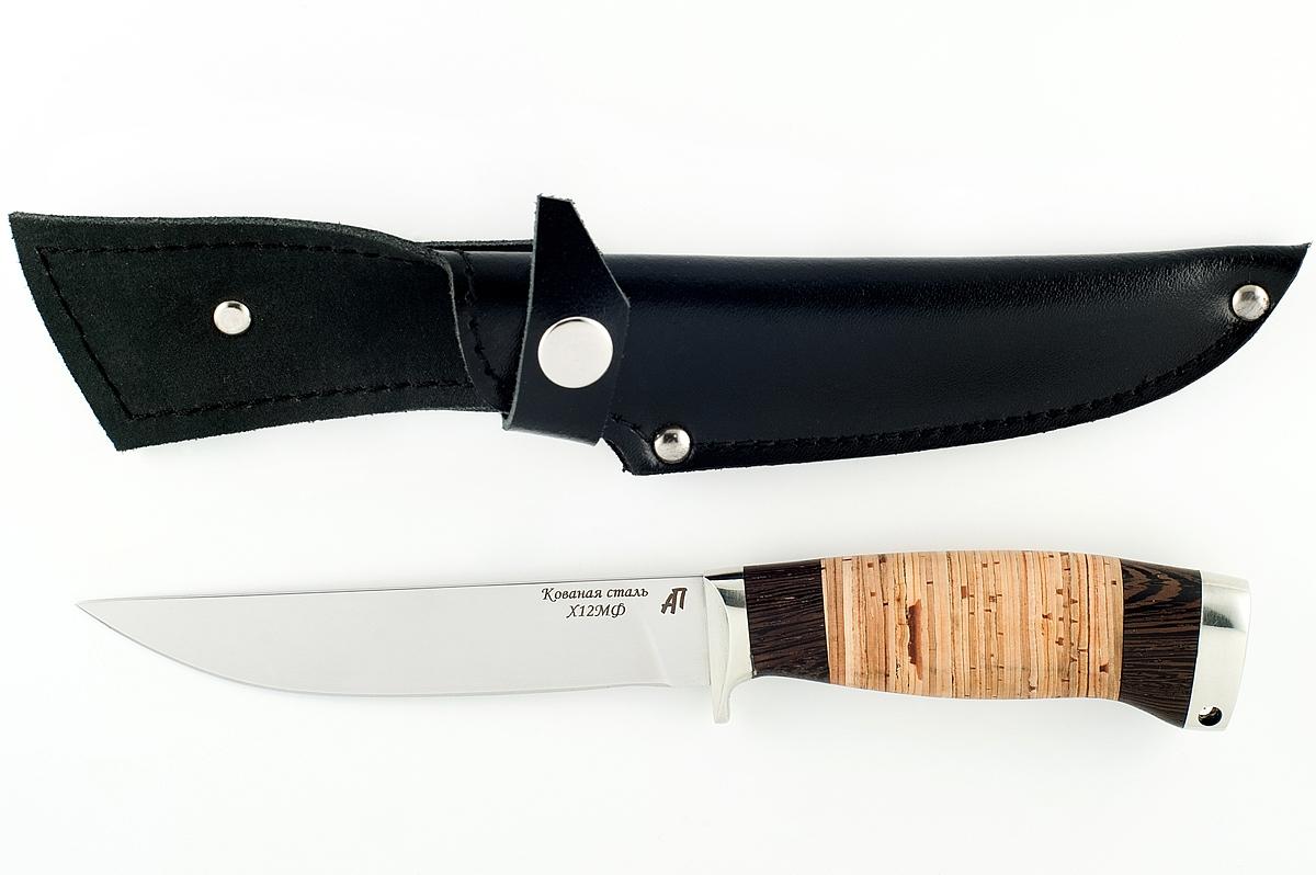 Нож Хорёк-10 кованая сталь х12мф венге и береста