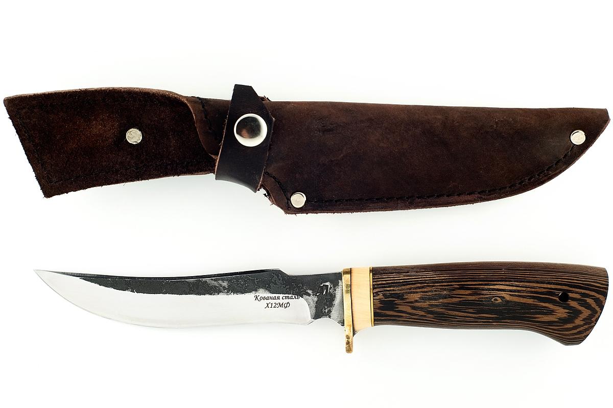 Нож Осётр кованая сталь х12мф венге (следы ковки)