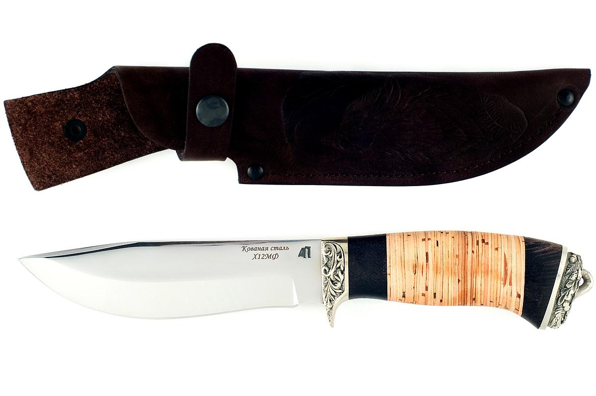 Нож Олень-3 кованая сталь х12мф граб и береста