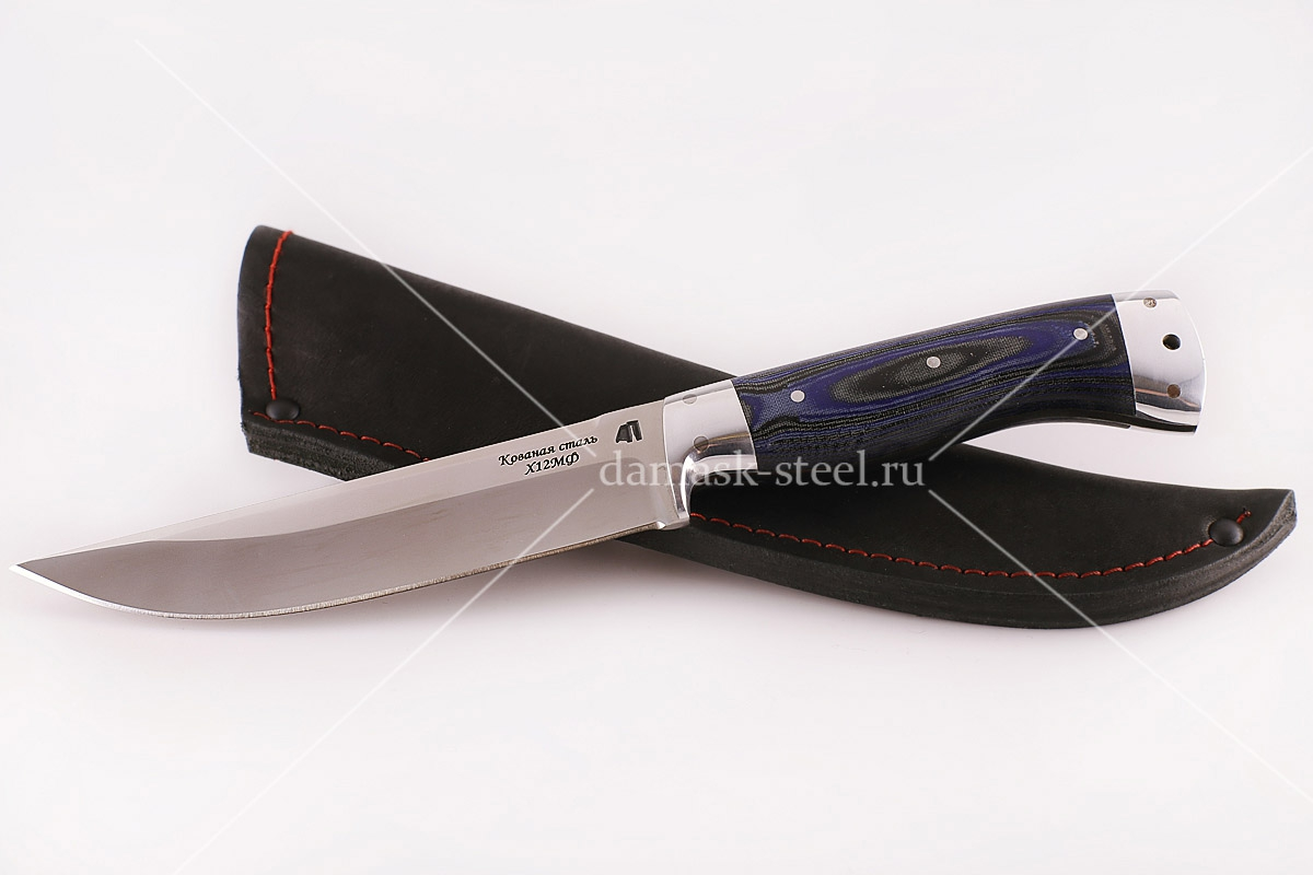Нож Волк сталь х12мф G10 синий цельнометаллический