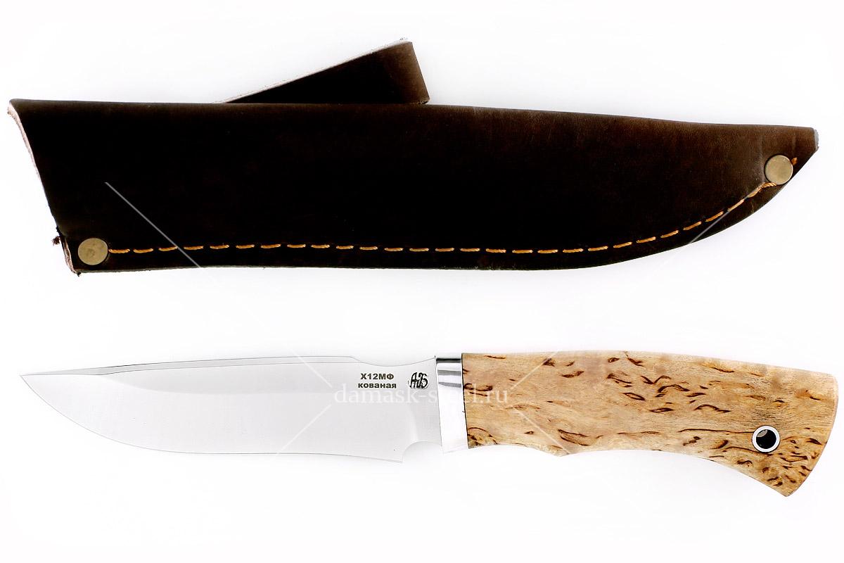 Нож Хищник(n) кованая сталь х12мф карельская берёза
