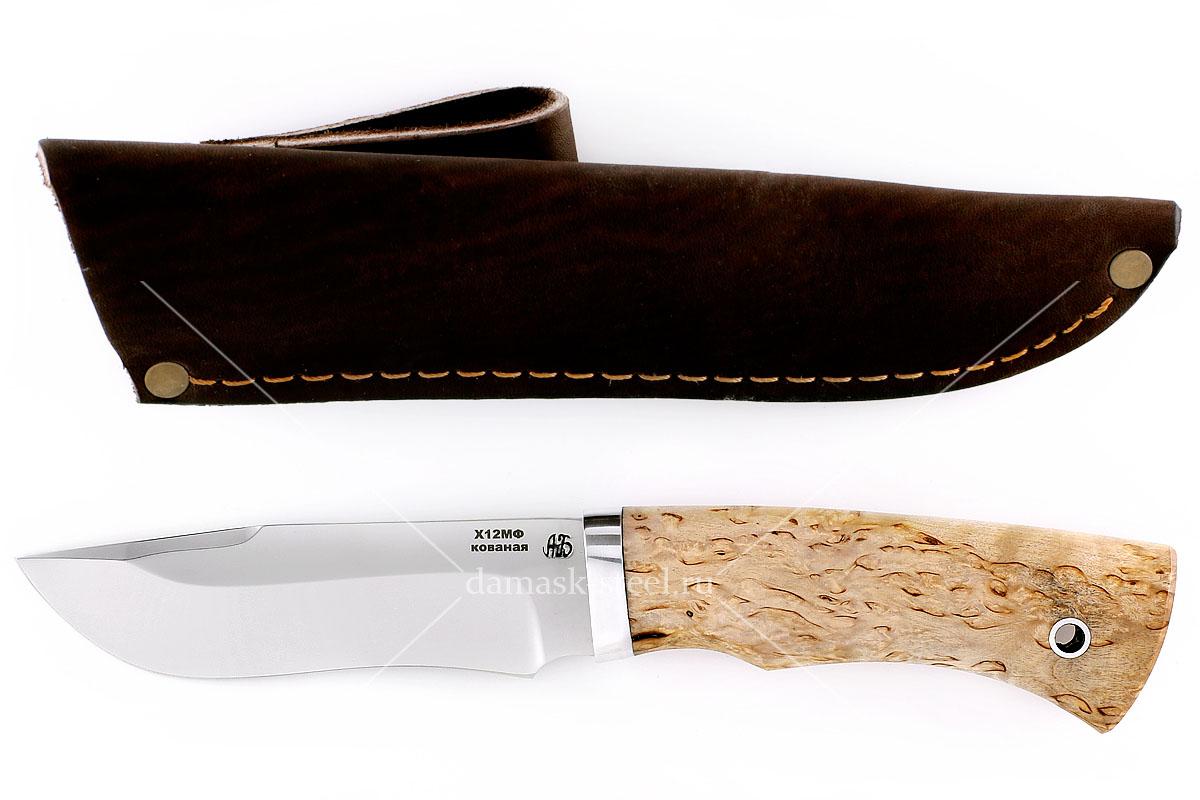 Нож Зубр(n) кованая сталь х12мф карельская берёза