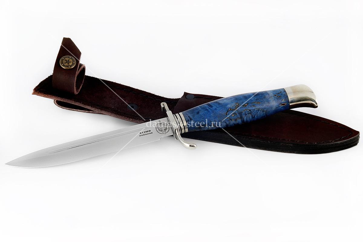 Нож финка НКВД-2 кованая сталь х12мф карельская берёза (синий)