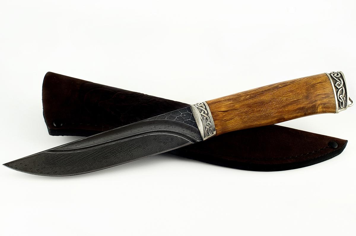 Нож Волк-7 кованая сталь ХВ-5 Алмазка карельская берёза