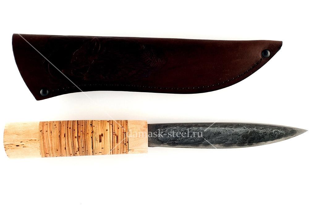 Нож Якутский сталь литой булат карельская берёза