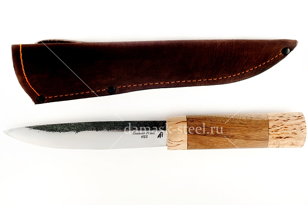 Нож Якутский кованая сталь 9хс орех
