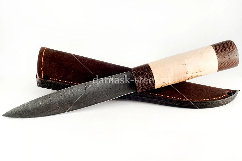 Нож Якутский сталь дамаск карельская берёза